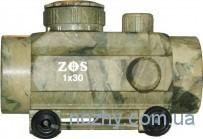 Прицел коллиматорный 1х30 ZOS камуфлированный с креплением широким