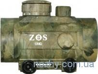 Прицел коллиматорный ZOS 1х40 камуфлированный с креплением широким на планку Weaver