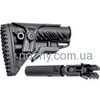 Приклад FAB Defense для AK 47/74 телескопический с регулируемой щекой. Цвет — черный